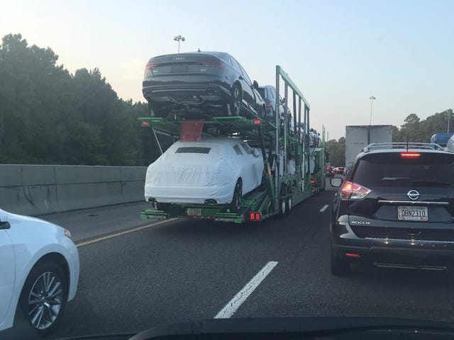 Car carrier full of Audis