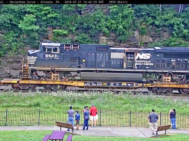Damaged Locomotives being transported around Horseshoe Curve.