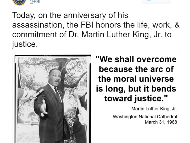FBI Conspired Against MLK; Tries to 'Honor' Him on Twitter 49 Years Later