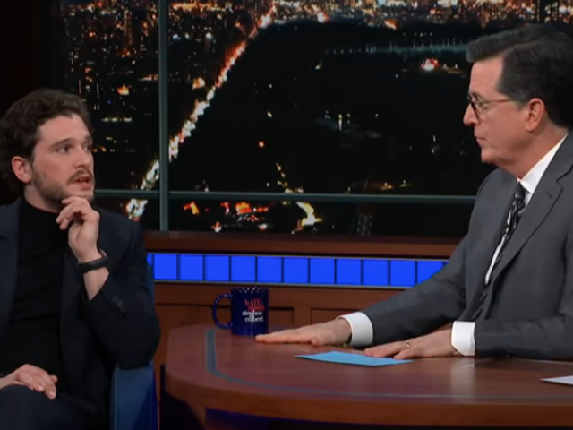 Kit Harington tries to pretend to know nothing as Stephen Colbert guesses Game Of Thrones endings