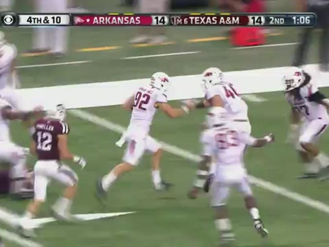 Razorbacks Punter Shows SEC Speed In Scoring On Fake Punt