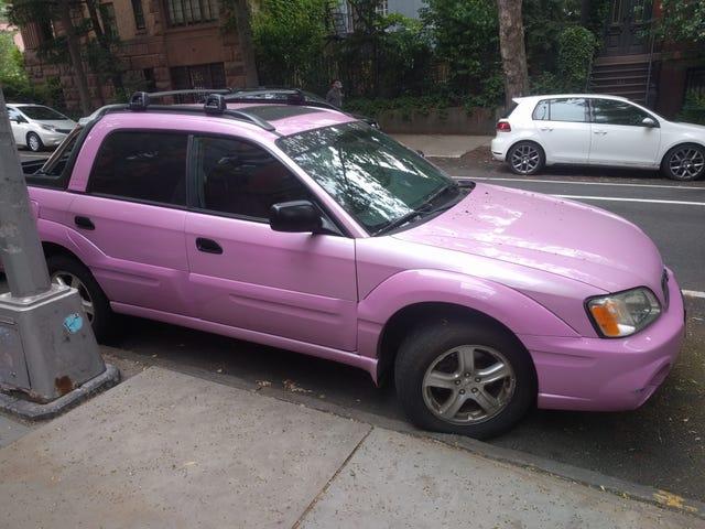 Is a hot pink Subaru Baja the best Subaru Baja?