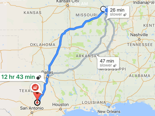Road trip Wednesday St. Louis to Austin.