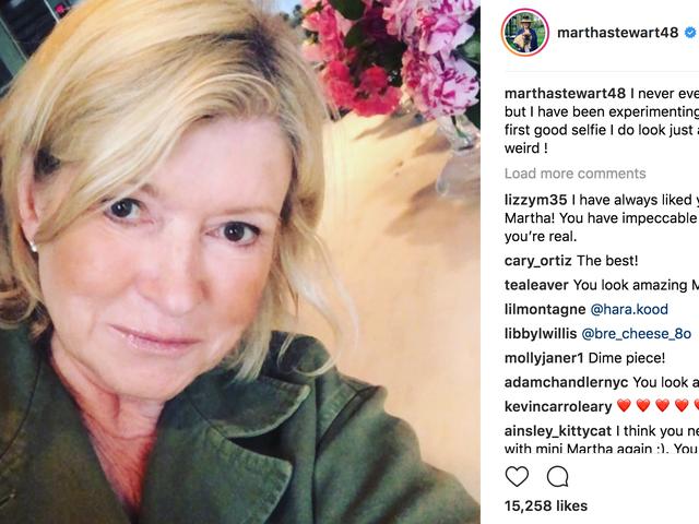 A Big Hello to Martha Stewart's First Selfie