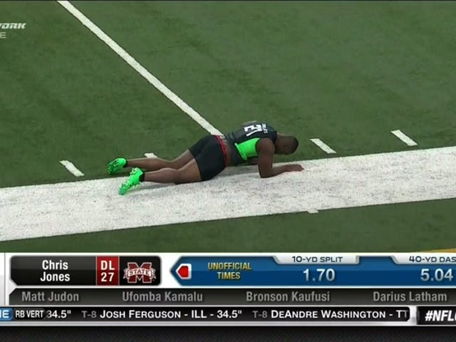 Defensive Lineman Crashes Out Of NFL Combine 40-Yard Dash Due To Dick Falling Out Of Shorts [NSFW]