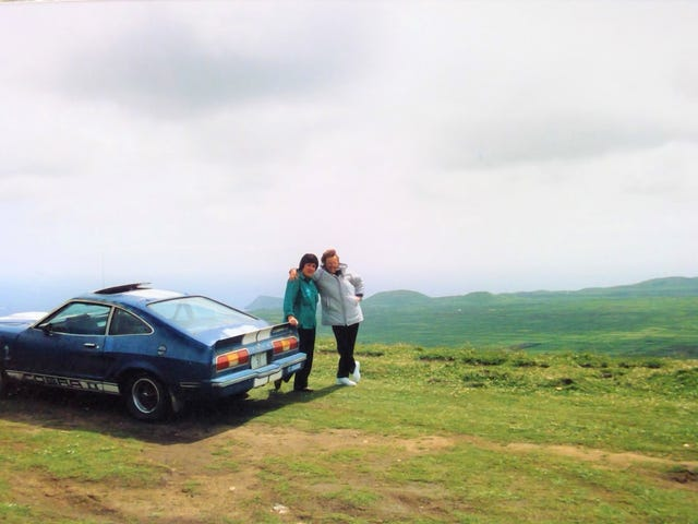 Old photo of my grandma and a clapped out Mustang II
