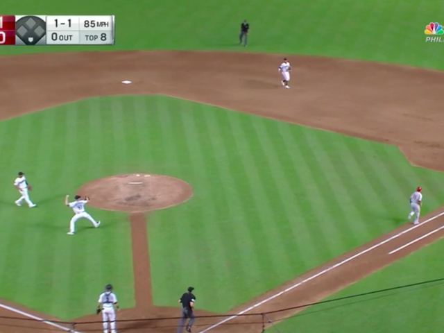 César Hernández Circles The Bases On A Bunt Thanks To Diamondbacks' Errors