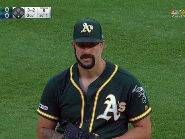 A's Pitcher Mike Fiers Telah Dared To Shave His Beard Into A G-Shape