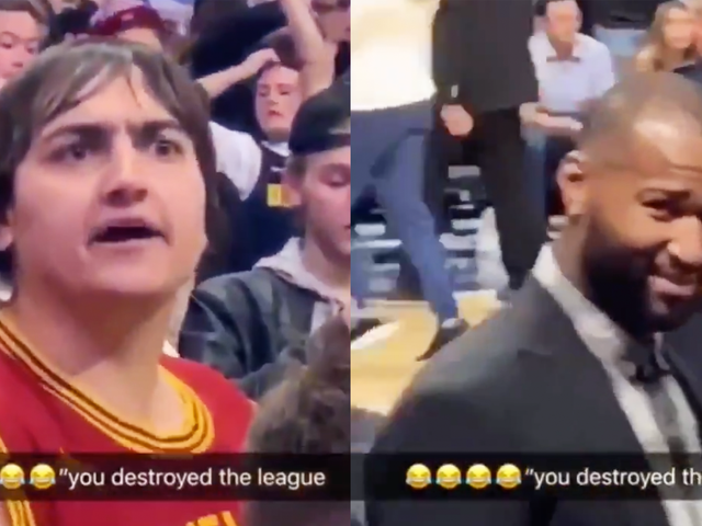 """Raving Cavs Fan Yells At Amused DeMarcus Cousins Because He """"Destroyed The League"""""""