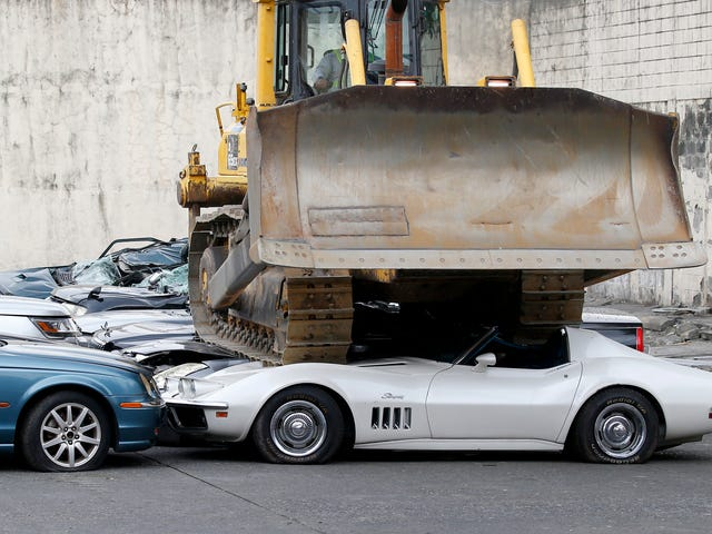The Philippines Just Flattened A Whole Bunch Of Smuggled Cars With A Bulldozer