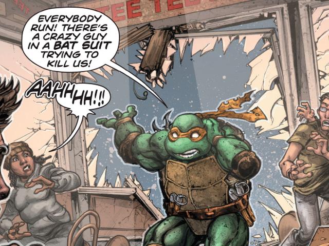 <i>Batman/Teenage Mutant Ninja Turtles</i> Crossover har haft sin obligatoriska hjälte kamp, och det är fantastiskt