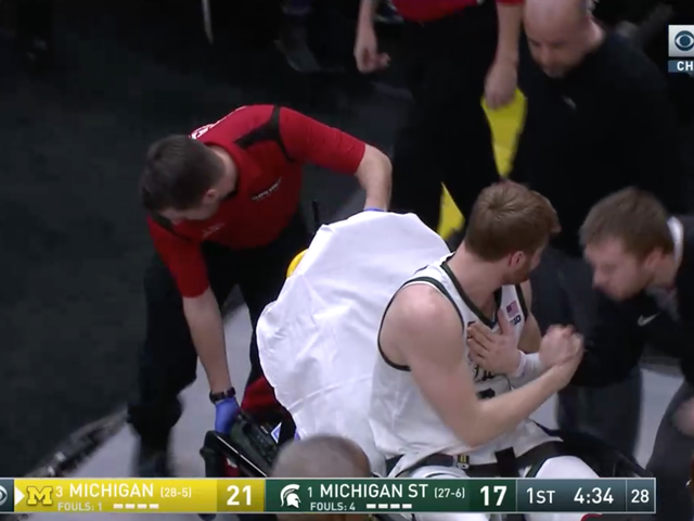 Michigan State's Kyle Ahrens Exits Big Ten Championship Game On Stretcher After Gruesome Ankle Injury [Update]