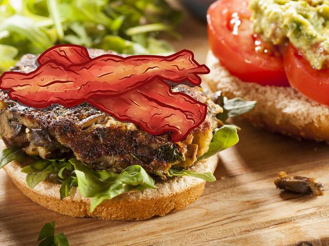 बेकन के साथ वेजी बर्गर ऑर्डर करें