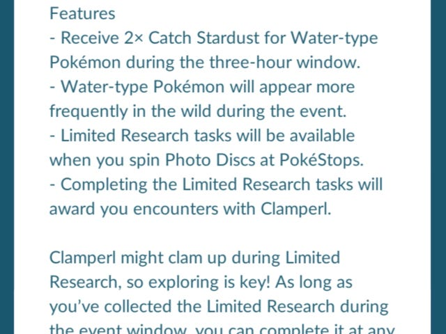 Pokemon Go Special Research Event - Clamperl