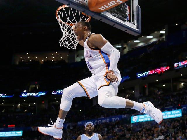 Oh Dios mío Oh Dios mío, creo que Russell Westbrook podría golpear a mi papá