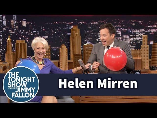 Regardez Helen Mirren inhaler de l'hélium et parlez du méticuleur du métro