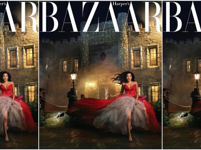 Cinderella Story: Cardi B มาเต็มวงกลมสำหรับแฟชั่นฤดูใบไม้ผลิของ Bazaar Harper