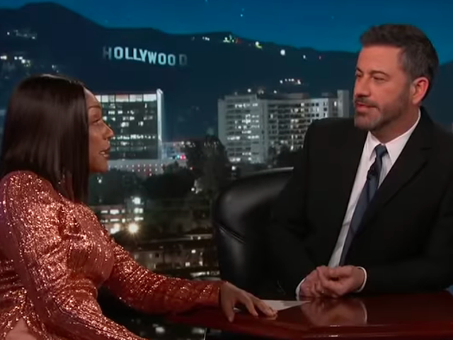Tiffany Haddish tells Jimmy Kimmel she is not kidding about her very specific Leo DiCaprio roleplay