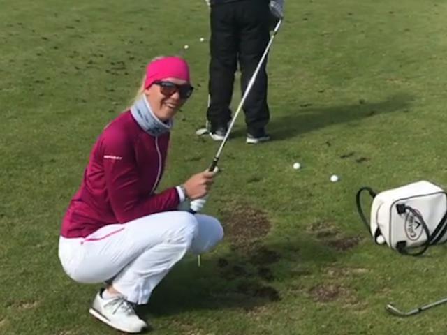 LPGA Pro Attempts Phil Mickelson Flop Shot Trick, Brains Caddie