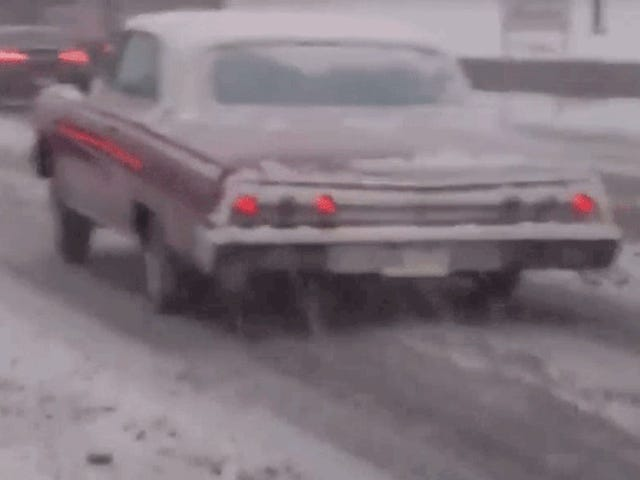 This Lowrider Driver Three-Wheeling In The Snow Is The Hero America Needs
