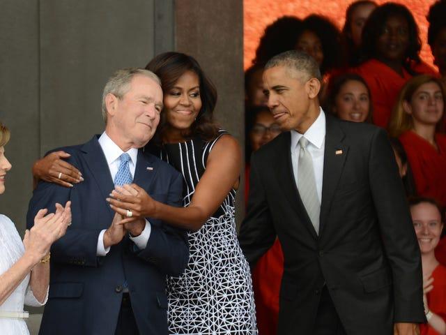 Barack Obama och George W. Bush Ringer ut Bigotry, samar värd en katastrofhjälpskonsert med alla andra ex-presidenter