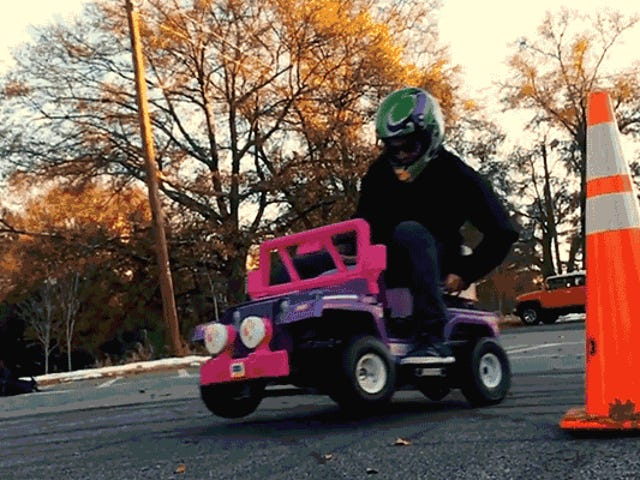 An Engine From a Log Splitter Turned This Power Wheels Barbie Jeep Into a Drifting Machine