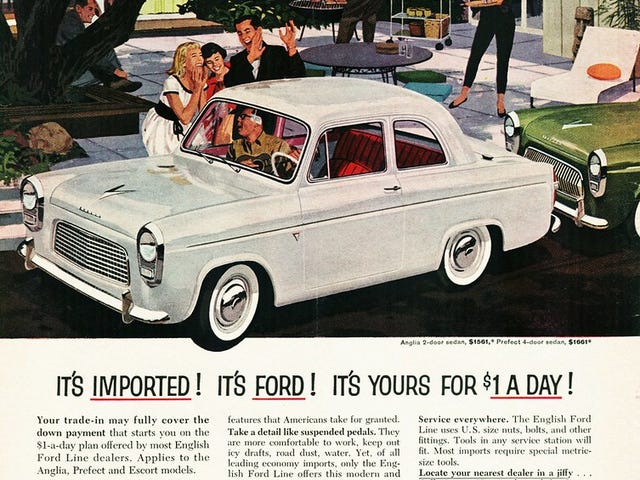 1950 년 미국에서 가장 많이 팔린 수입 업체는 포드였습니다.
