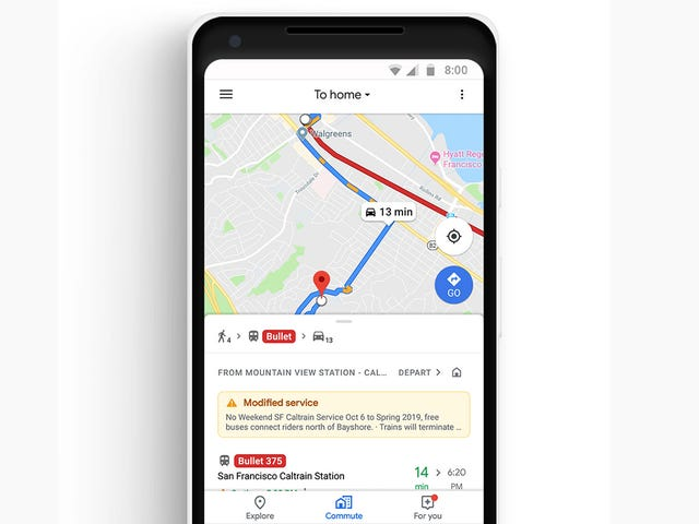 Google Is Sprucing Up Maps With a New Tab for Commuters and Built-In Music Controls