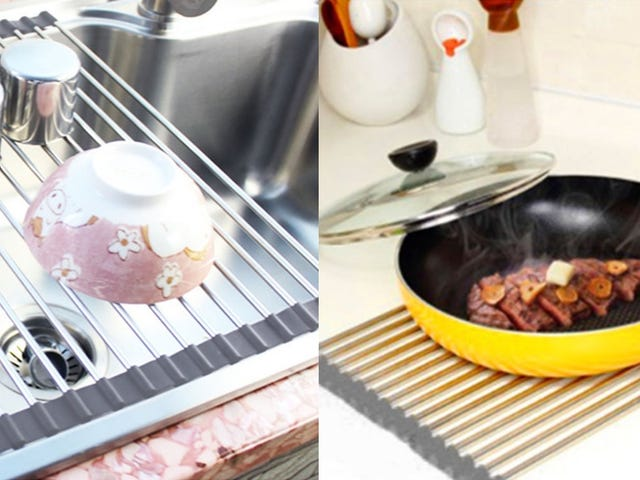 This Ingenious Dish Rack Rolls Up When You Don't Need It