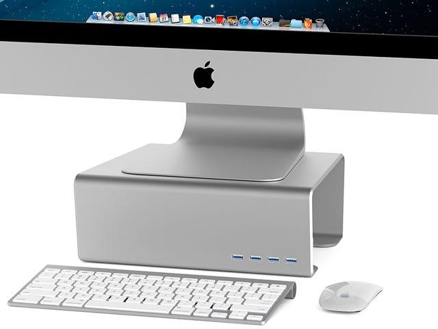Denne hylde placerer din iMac på øjeniveau og dens USB-porte på nem rækkevidde