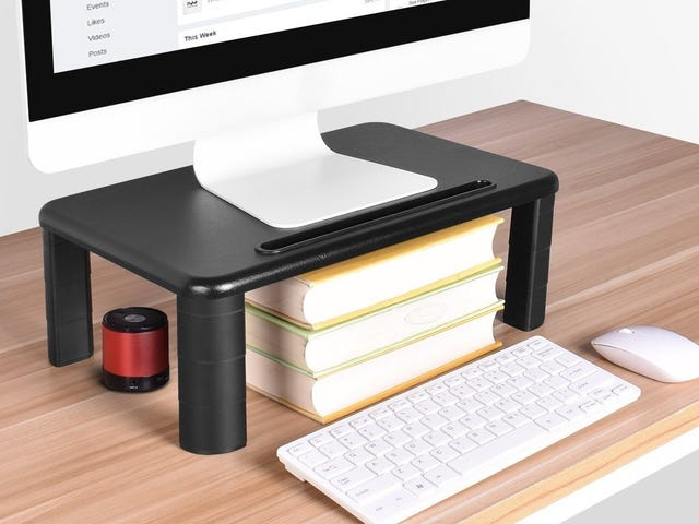 Raise Your Monitor to a More Ergonomic Height With This $14 Adjustable Shelf