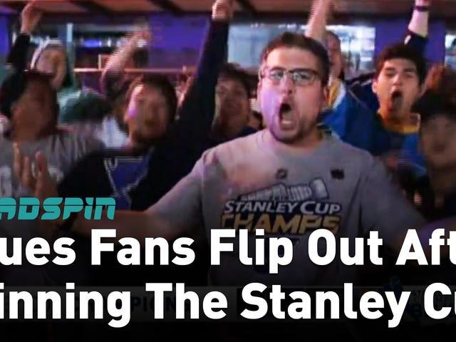 Les fans des St. Louis Blues ont crié, fait de la roue et perdu une alliance après leur première victoire en Coupe Stanley