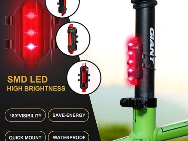 5LED Bicycle Light USB MTB Road Bike Tail Light Rechargeable Free 2-7 Day Shipping