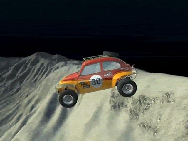 Es ist seltsam zu beobachten, wie CG-Autos in geringer Schwerkraft auf die Mondoberfläche krachen