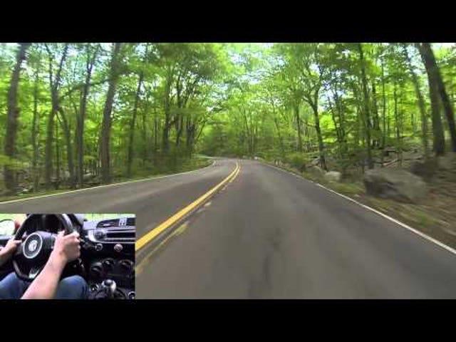 Fiat 500 Abarth drives Tiorati Brook Road [New York   Harriman State Park]