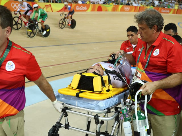 High-Speed Track Cycling Crash Takes Out Three Riders, Hospitalizes One