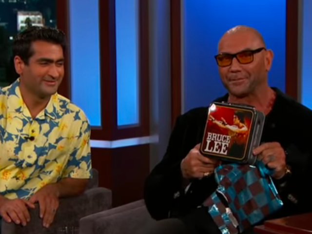 Dave Bautista finally gets his Stuber wrap gift from Kumail Nanjiani on Jimmy Kimmel Live!