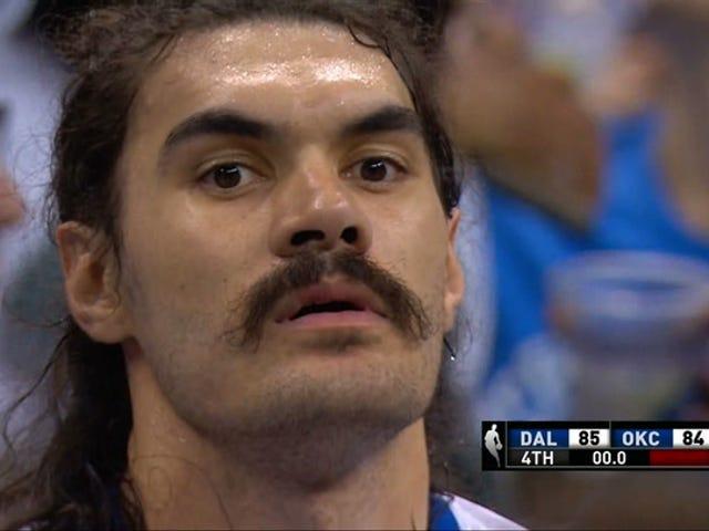 Mavericks नीचे थंडर के रूप में स्टीवन एडम्स खेल-विजेता बहुत देर से आता है