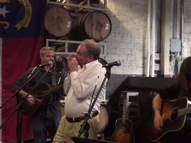Your Dad Tim Kaine Nervously Played Harmonica to 'Wagon Wheel' Last Night