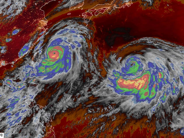 Twin Typhoons Approach East Asia With Terrifying Force