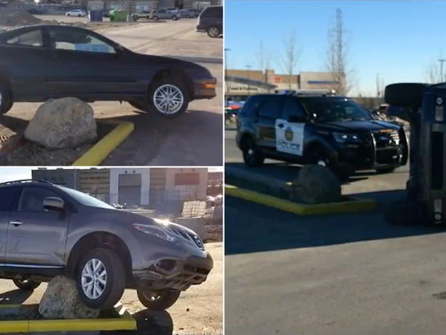 Drivers Just Can't Stop Hitting This Giant Rock In A Parking Lot