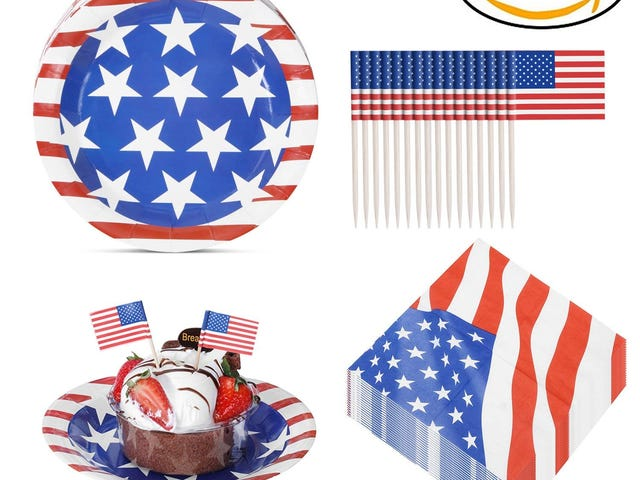 JOYSEAS Party Disposable Paper Plates Pack with 50 Plates, 50 Napkins and 50 Mini American Flags $6.79