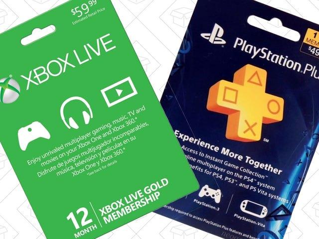 Xbox Live 또는 PlayStation Plus 멤버쉽에 1 년 추가 $ 40