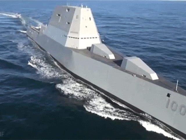 Đây là cảnh quay đầu tiên của tàu khu trục Zumwalt xấu mới của Hải quân Hoa Kỳ trên biển