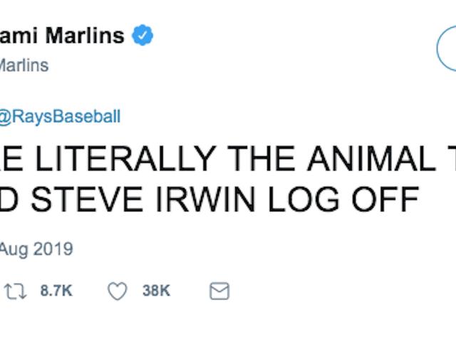 Miami Marlins Λυπούμαστε για την επίπληξη Tampa Bay ακτίνες για τη δολοφονία Steve Irwin