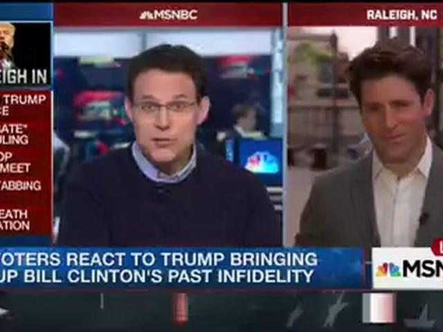 Mga Panayam ng MSNBC Mga Botante ng Lalaki Tungkol sa Paano Ginamit ni Hillary Clinton ang pagdaraya ni Bill Clinton