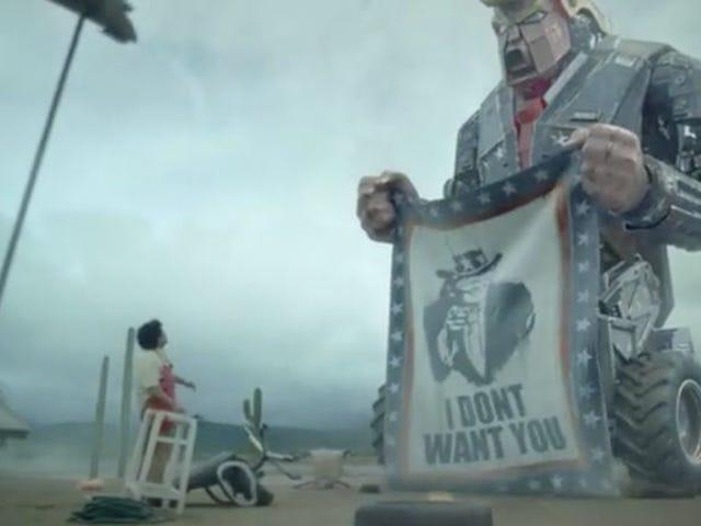 लघु रोबोट-फाई फिल्म में विस्थापित रोबोट के खिलाफ विशालकाय रोबोट ट्रम्प का वर्ग