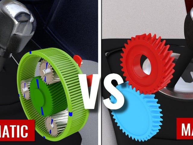 La diferencia entre la transmisión manualen y la transmission automática, explicada de manera visual