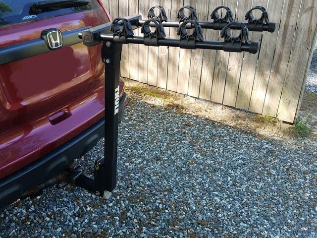 Just bought this nifty hitch mount bike rack.