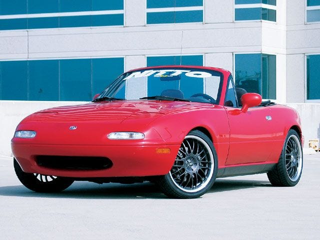 """Dad, how come the Miata's face looks so confused?"""